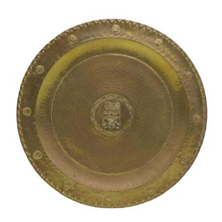 1960s Vintage Mexican Toltec Decoration Brass Tray For Sale