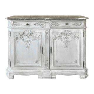 Antique Louis XIV Painted Marble Top Buffet For Sale