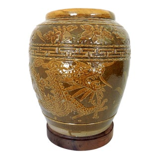 Antique Chinese Glazed Double Dragon Pottery Planter and Rotating Wood Stand For Sale