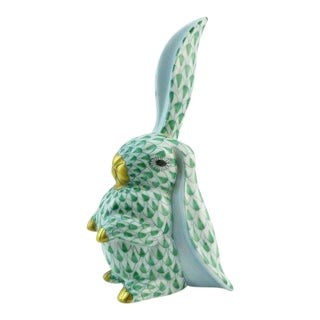 Herend Green Fishnet Rabbit Figurine With One Ear Up For Sale