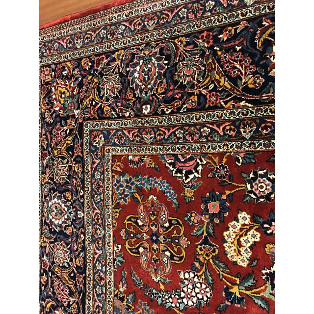 Islamic Antique Oversize Persian Kashan Carpet For Sale - Image 3 of 4
