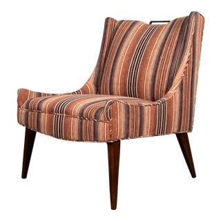 1960s Mid-Century Modern Striped Lounge Chair For Sale