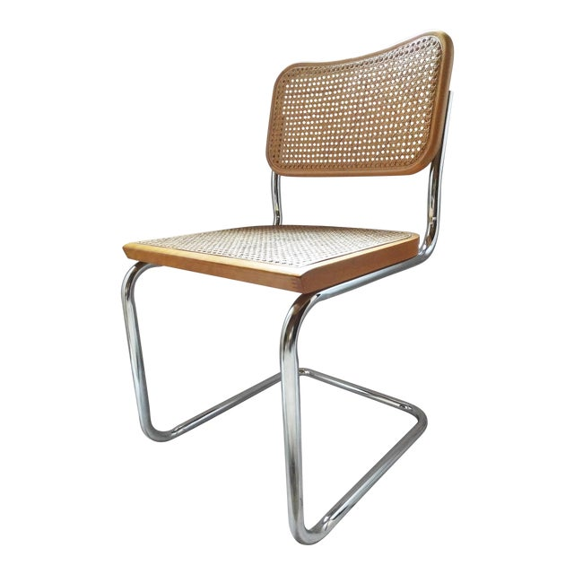 Vintage Marcel Breuer Style Chrome & Cane Chair - Image 1 of 7