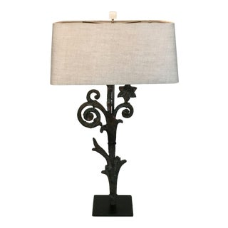 Large 19th C. Iron Fragment Table Lamp W/Custom Linen Shade & Acrylic Base For Sale