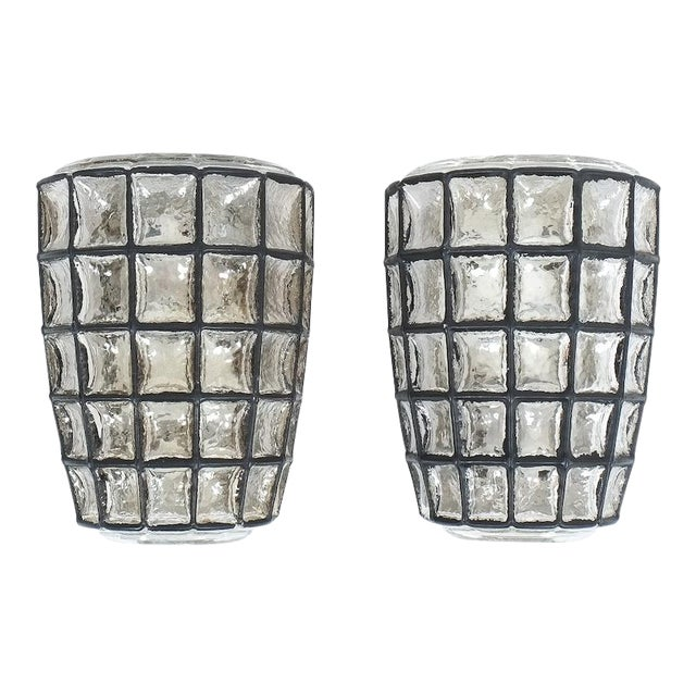 Iron and Glass Sconces Wall Lamps by Limburg, 1960 For Sale