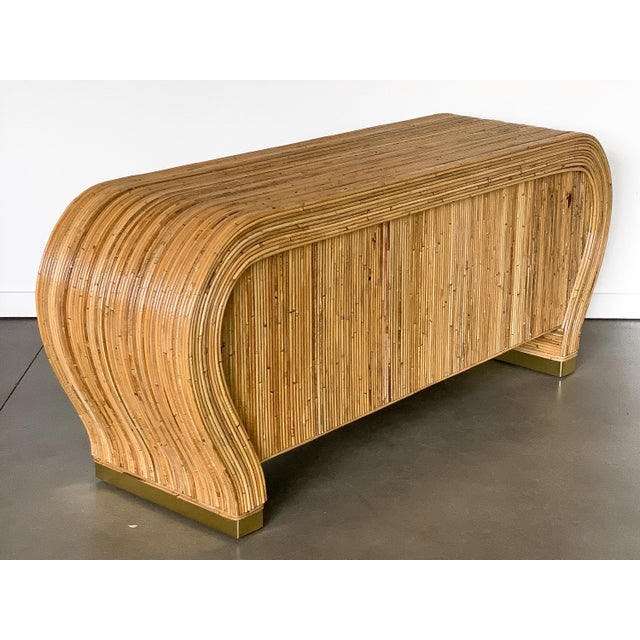 Tan Gabriella Crespi Style Bamboo and Brass Waterfall Sideboard Cabinet For Sale - Image 8 of 13