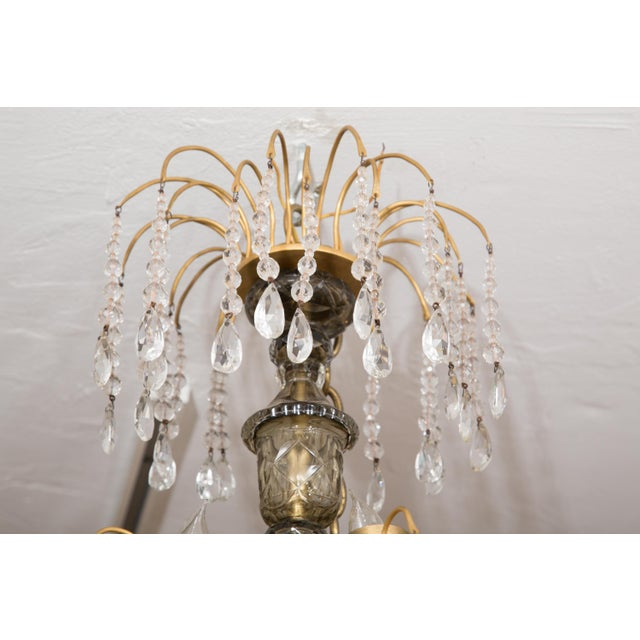 19th Century Gilt Metal and Crystal Baltic Chandelier For Sale - Image 9 of 13