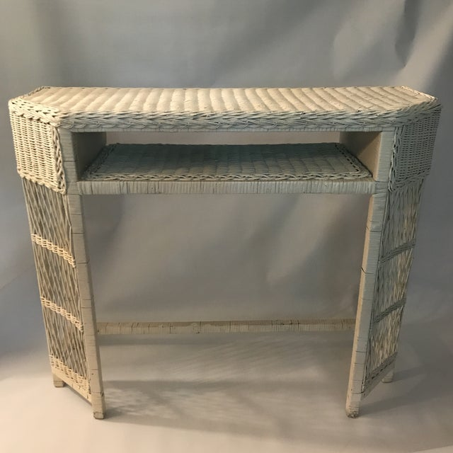 White Wicker Console or Dressing Table For Sale - Image 13 of 13