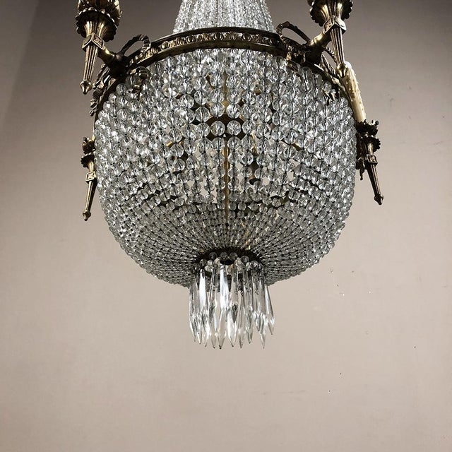 Antique Sack of Pearls Crystal Chandelier For Sale - Image 12 of 13