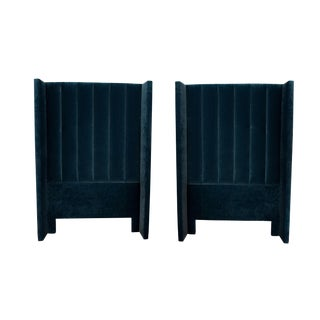 Blue Velvet Channel Tufted Headboards - A Pair For Sale
