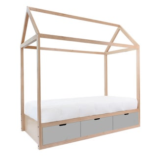 Domo Zen Full Canopy Bed in Maple With Gray Finish Drawers Preview