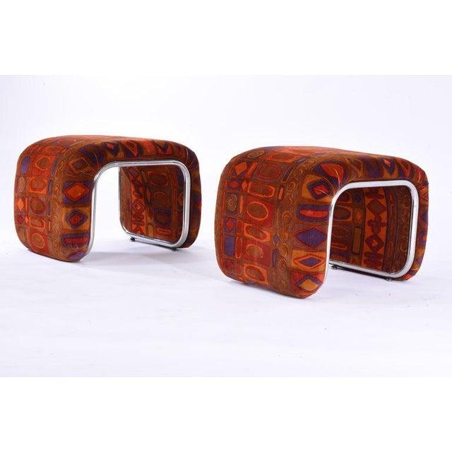 Mid-Century Modern Vintage Jack Lenor Larsen Velvet and Chrome Stools- A Pair For Sale - Image 3 of 7