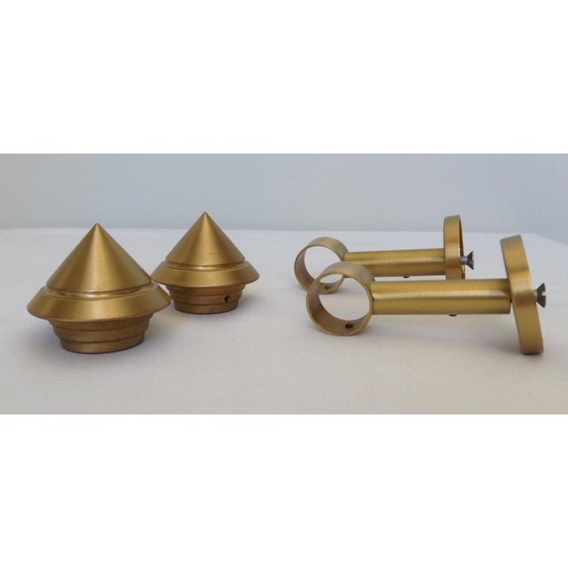 1990s German Solid Brushed Brass Drapery Hardware - Set of 4 For Sale - Image 5 of 11