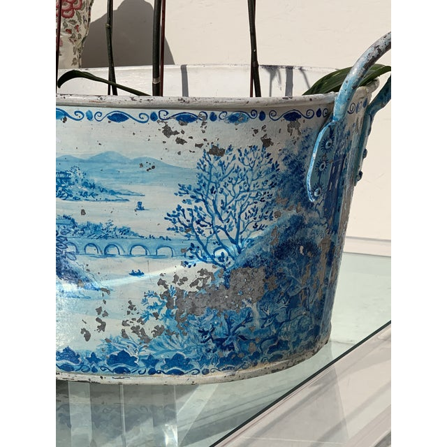 Sky Blue Blue Tole French Style Chinoiserie Planter For Sale - Image 8 of 11
