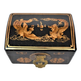 Asian Dragon & Phoenix Painted Box For Sale