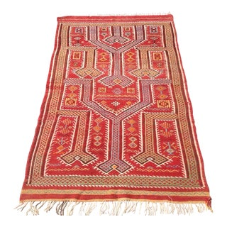 Vintage Turkish Kilim Rug - 3′4″ × 5′5″ For Sale
