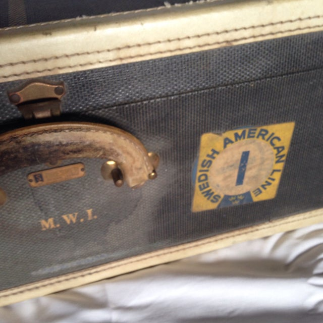 Animal Skin Large Vintage Dark Blue Suitcase For Sale - Image 7 of 9