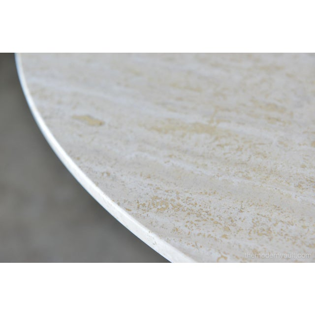 Wood Brown Saltman Travertine and Sculpted Walnut Dining or Bistro Table, Circa 1970 For Sale - Image 7 of 9