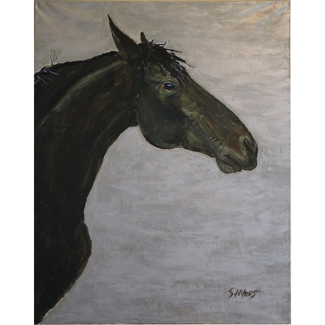 """Big Horse on Silver"" Contemporary Painting by Sarah Myers For Sale"