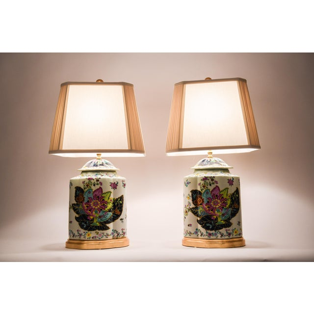 Late 20th Century French Porcelain Lamps With Wood Base - a Pair For Sale - Image 9 of 13