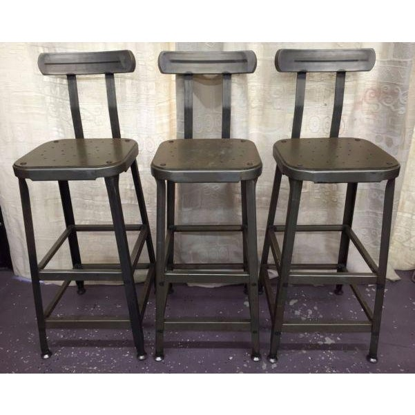 Industrial Steel Bar Stools - Set of 3 - Image 2 of 6