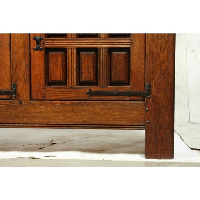 Mid Century Mediterranean Spanish Mission Style Oak Buffetconsole With Cast Iron Studs And Hardware