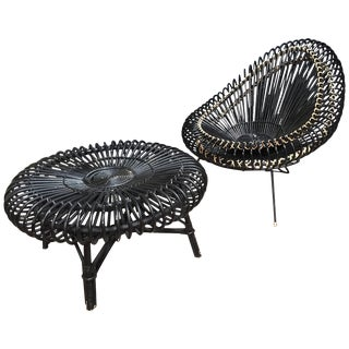 J.Abraham and Dirk Jan Rol Lounge Chair 'B' With Coffee Table in Rattan, 1950s For Sale