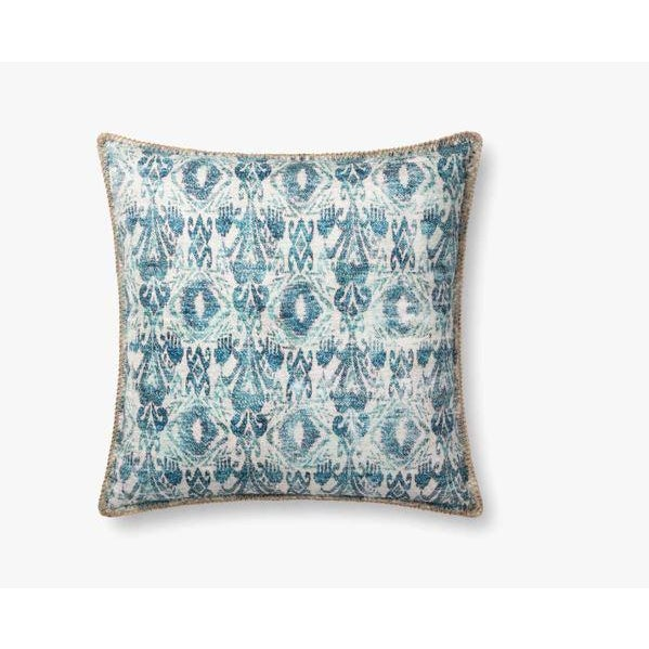 Textile Distressed Blue Ikat Outdoor Pillow For Sale - Image 7 of 7