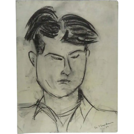Modernist Portrait of a Man Charcoal Drawing For Sale