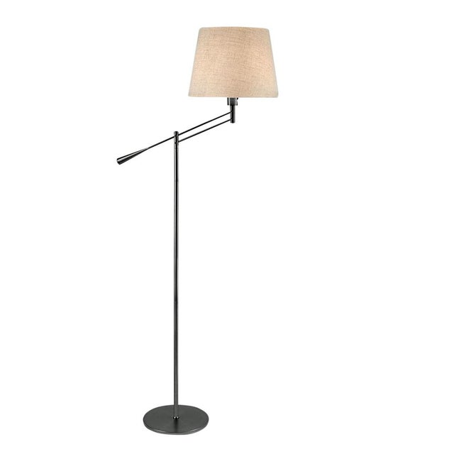 Mid-Century Modern Adjustable Black Bronze Floor Light With Shade For Sale - Image 3 of 3