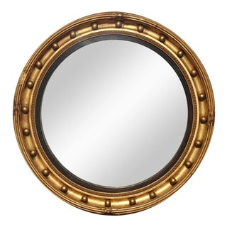 Antique French Country Federal Convex Round Gold Wall Mantle Mirror 24 Colonies For Sale