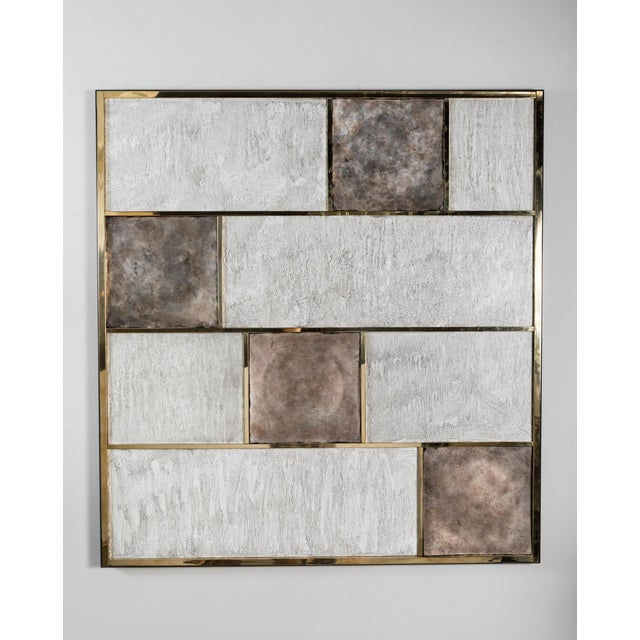 Art Wall Panel With Brass, Distressed Silver Leaf and Textured Finish by Paul Marra - Image 8 of 8