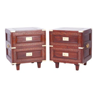 Pair of Rosewood Anglo Indian Campaign Nightstands or Chests By M.Hayat & Bros For Sale