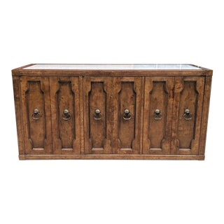 Mastercraft Mid Century Burled Walnut & Travertine Sideboard For Sale