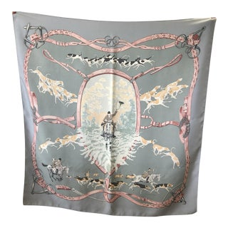 "Vintage Hermes ""Le Bien Aller"" Fox Hunting 35 Inch Square Silk Scarf by J De Fougerolle For Sale"