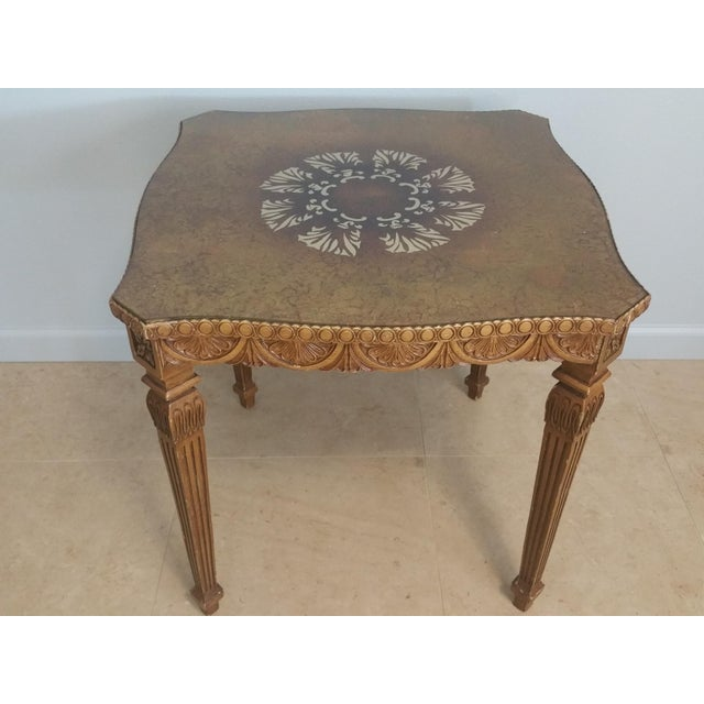 Vintage French Style Hollywood Regency Glass Top Table - Image 4 of 4