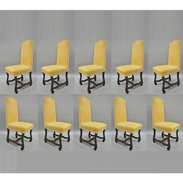 Early 20th Century Walnut Os De Mouton Louis XIV French Style Upholstered Dining Chairs- Set of 10 For Sale - Image 12 of 12