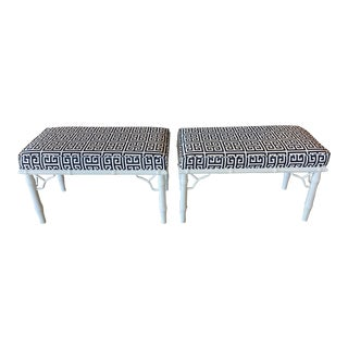Vintage Faux Bamboo Fret Navy and White Upholstered Greek Key Benches -A Pair For Sale
