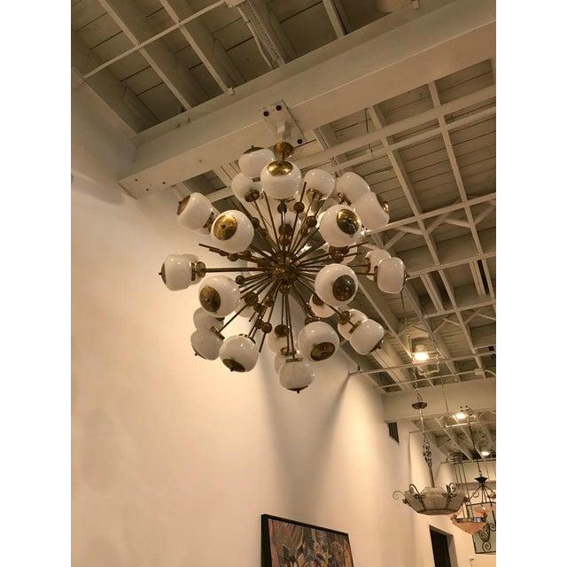 Italian Brass and Glass Sputnik Chandelier For Sale - Image 11 of 11