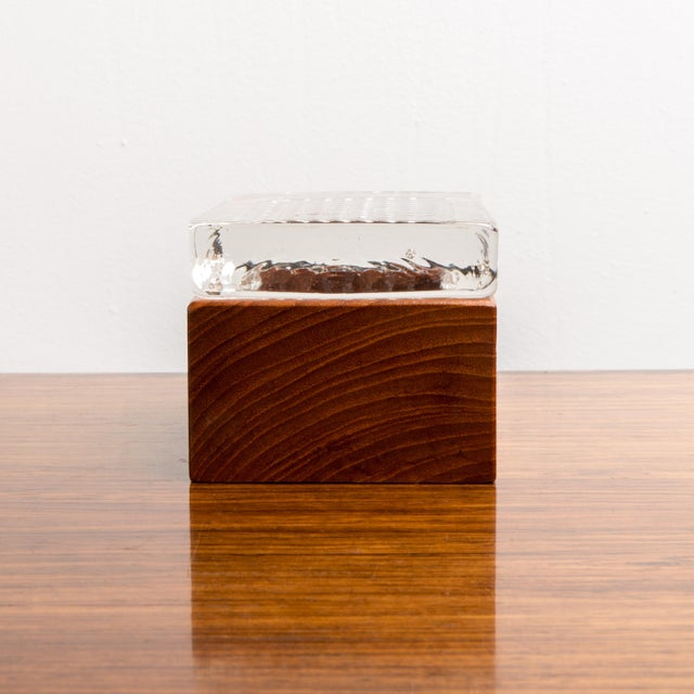 Modern 1950s Vintage Glass & Wood Box For Sale - Image 3 of 8