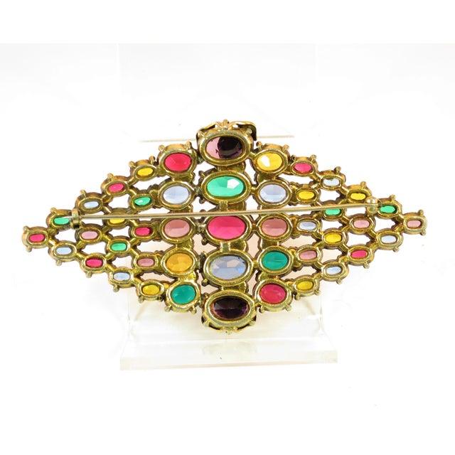 Czech Art Deco Jewel-Tone Bohemian Crystal Brooch 1920s For Sale - Image 9 of 12