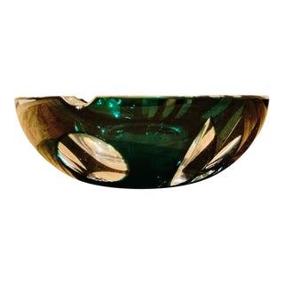 Vintage Bohemian Crystal Style Glass Ashtray For Sale