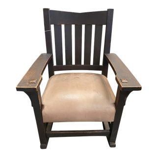 Original Gustav Stickley Rocking Chair With Leather Seat For Sale