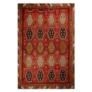 Vintage Turkish Anatolian Burgundy and Beige Wool Kilim Rug - 4′ × 12′ For Sale