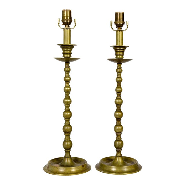 Early 20th C. American Colonial Brass Candlestick Lamps - a Pair For Sale
