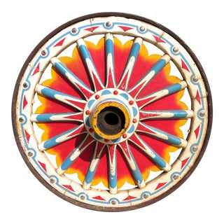 Antique Circus Carnival Sunburst Painted Wood Wagon Wheel For Sale