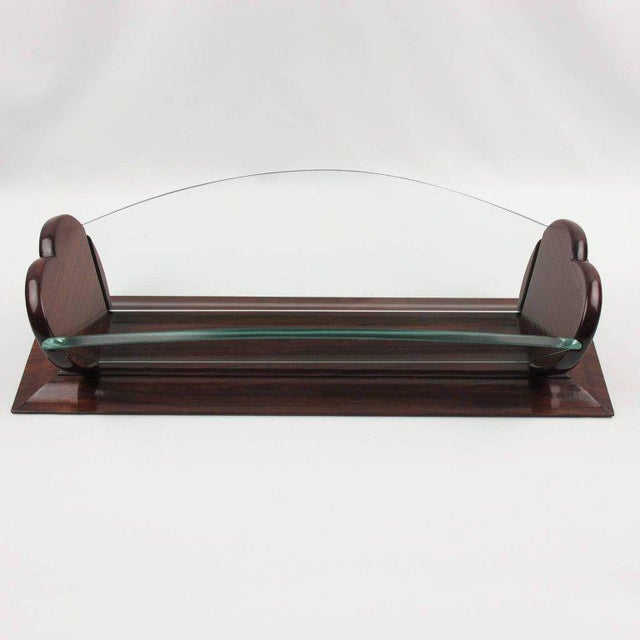 1930s 1930s Art Deco Rosewood and Glass Long Centerpiece Bowl Decorative Basket For Sale - Image 5 of 9