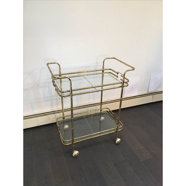 Brass Plated Mid Century Bamboo Bar Cart - Image 8 of 11