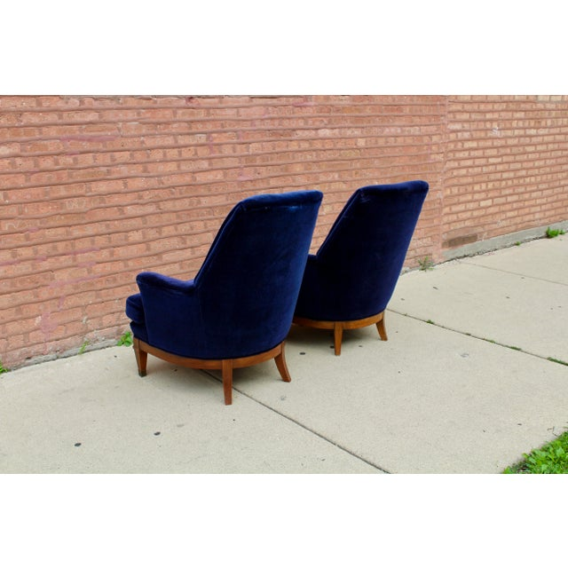 1960s Art Deco Blue Mohair Velvet Armchairs - a Pair For Sale - Image 4 of 13