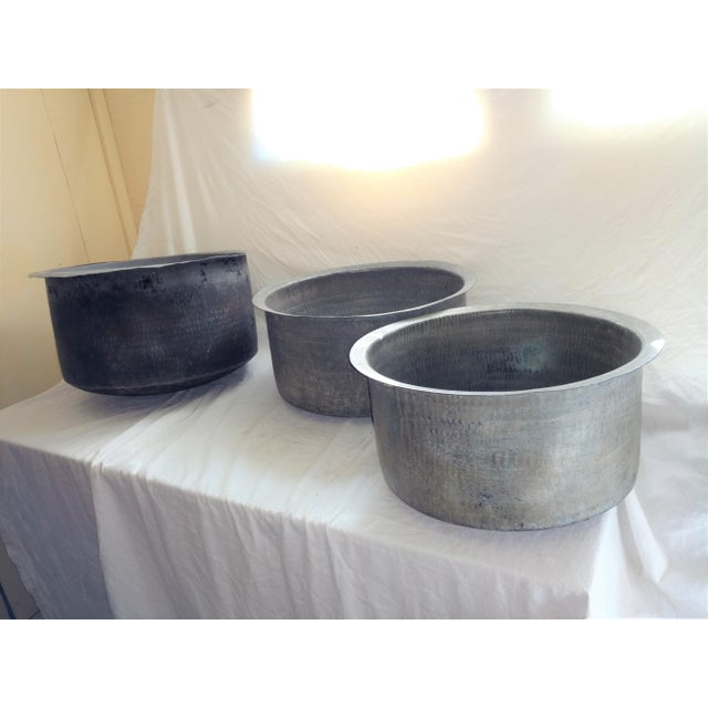 Antique Ceylonese Hammered Metal Copper Bottom Cauldrons - Set of 3 For Sale - Image 13 of 13